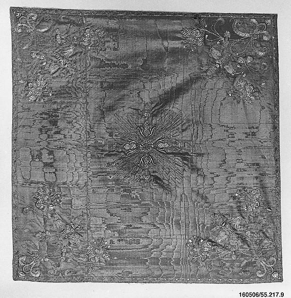 Chalice veil (part of a set), Metal thread on silk, Italian