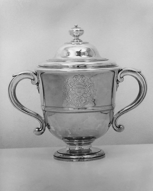 Two-handled cup with cover, Simon Pantin I (British, ca. 1672–1728), Silver, British, London