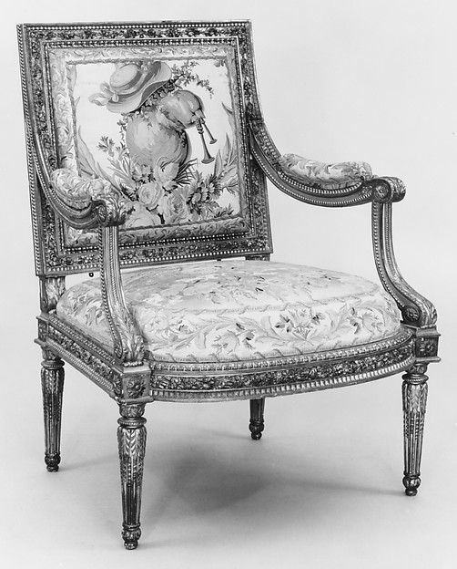 Armchair (part of a set), Georges Jacob (French, Cheny 1739–1814 Paris), Carved and gilded walnut; 18th-century embroidered silk-satin (not original to the frame), French, Paris
