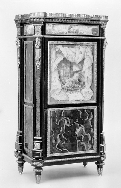 Upright secretary, Philippe Pasquier (master 1760; died 1783), Oak, burl yew-wood, black-stained wood, amboyna, harewood, satin-wood, tulipwood, satiné, holly, purple-wood, gilt bronze, marble, sketches on paper, French, Paris