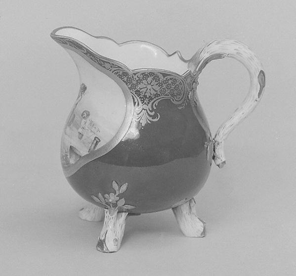 Milk jug (pot à lait à trois pieds) (part of a service), Sèvres Manufactory (French, 1740–present), Soft-paste porcelain, French, Sèvres