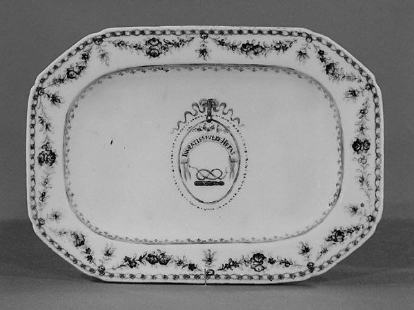 Tray, Hard-paste porcelain, Chinese, for British market