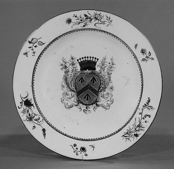 Plate, Hard-paste porcelain, Chinese, for British or Continental market