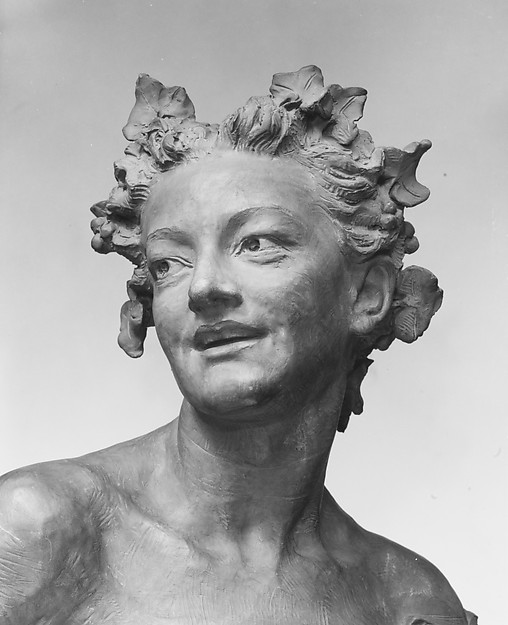 Bacchante with vine leaves, Jean-Baptiste Carpeaux (French, Valenciennes 1827–1875 Courbevoie), Terracotta; marble base, French
