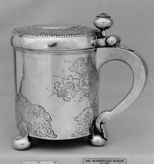 Peg tankard, Andreas Lude (working 1776–96), Silver, Norwegian, Bergen