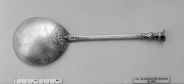 Seal-top spoon, Silver, parcel gilt, British, probably Beccles, Norfolk