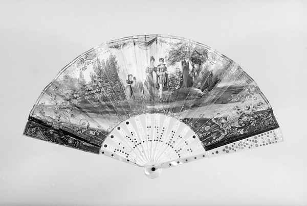 Fan, Painted by Garoy (?), Parchment, paper, paint, gilt, ivory, steel, mother-of-pearl, beads, glass, French