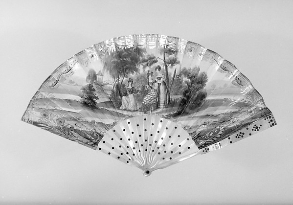 Fan, Paper, paint, gilt, mother-of-pearl, steel, glass, French