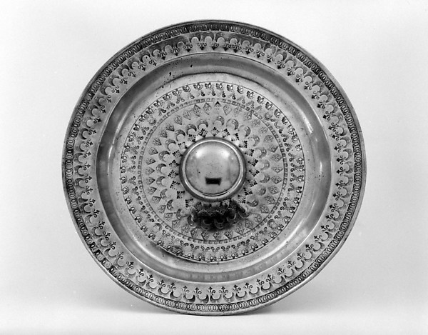 Rosewater dish, Pewter, Dutch or German