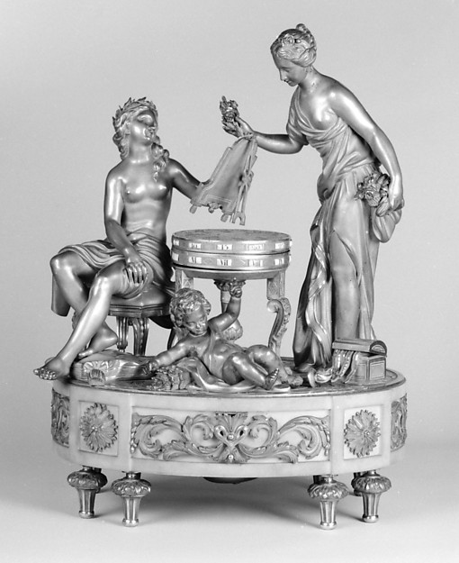 The Toilette of Venus, After a sculpture attributed to Étienne-Maurice Falconet (French, Paris 1716–1791 Paris), Case: gilded bronze and marble; Dial: gilded bronze and white enamel; Movement: brass and steel, French, Paris