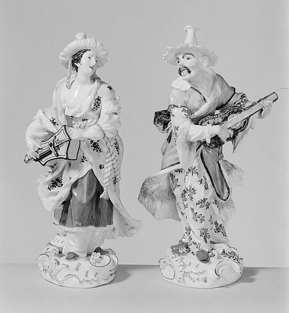 Chinese musician (Malabar) (one of a pair), Meissen Manufactory (German, 1710–present), Hard-paste porcelain, German, Meissen