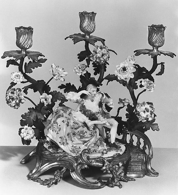 Lovers, Meissen Manufactory (German, 1710–present), Hard-and soft-paste porcelain, gilt-bronze mount, German, Meissen