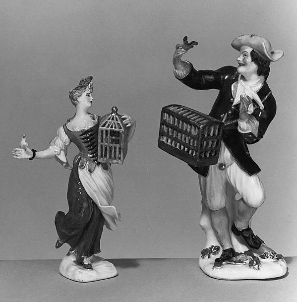 Bird seller (one of a pair), Meissen Manufactory (German, 1710–present), Hard-paste porcelain, German, Meissen