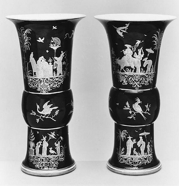 Pair of beaker vases, Meissen Manufactory (German, 1710–present), Hard-paste porcelain, German, Meissen