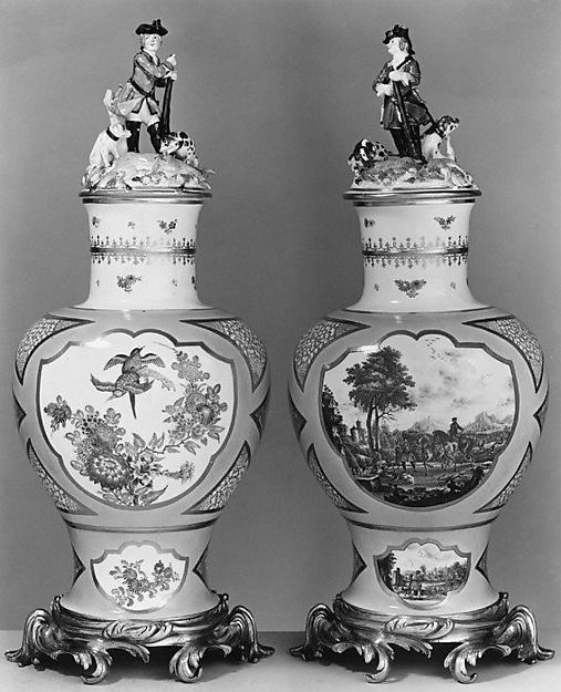 Vase (one of a pair), Meissen Manufactory (German, 1710–present), Hard-paste porcelain; gilt-bronze mounts, German, Meissen