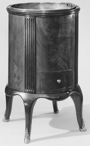 Wine cooler, Joseph Gegenbach, called Canabas (French, Alsace ca. 1715–1797 Venice), Oak veneered with mahogany; gilt bronze, tinned copper liner, French, Paris