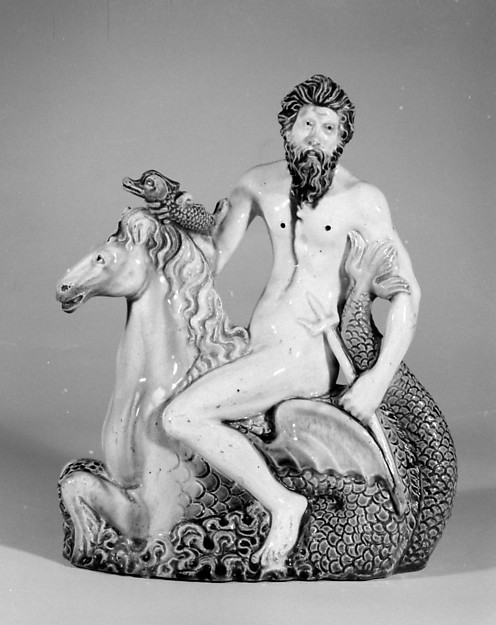 Neptune astride a hippocamp, Lead-glazed earthenware, probably French, Fontainebleau