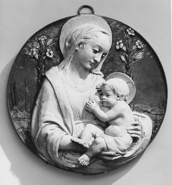 Madonna of the Lillies, Workshop of Benedetto Buglioni (Italian, Florence 1459/60–1521 Florence), Glazed terracotta, Italian, Florence
