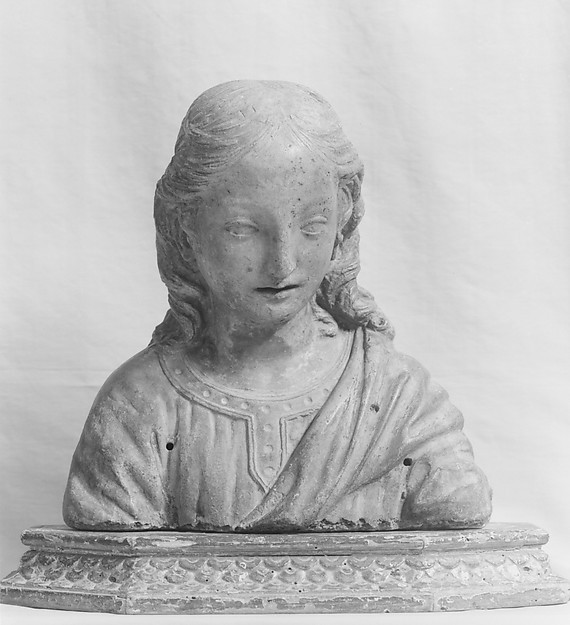 Renaissance-style bust of the boy Christ, Stucco, remains of polychromy; base: carved and gilt wood, Italian, Florence
