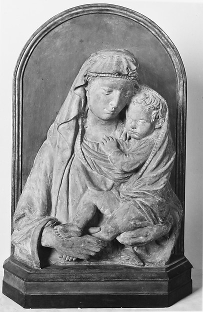 Madonna and Child, After a composition sometimes attributed to Lorenzo Ghiberti (Italian, Florence 1378–1455 Florence), Terracotta, Italian, Florence