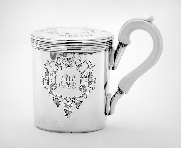 Shaving cup with cover and handle; soap dish (part of a set), Johann Bernhard Hertz (Hentz) (master 1834–1855), Silver; silver, ivory, Russian, St. Petersburg