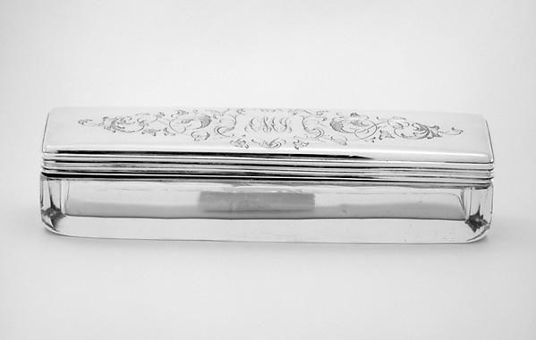 Crystal box with cover (part of a set), Johann Bernhard Hertz (Hentz) (master 1834–1855), Silver, crystal; silver, Russian, St. Petersburg