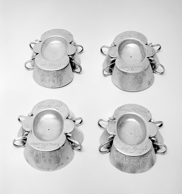 Set of six salts, Possibly by Christopher Shaw (active 1656–64), Silver, British, London