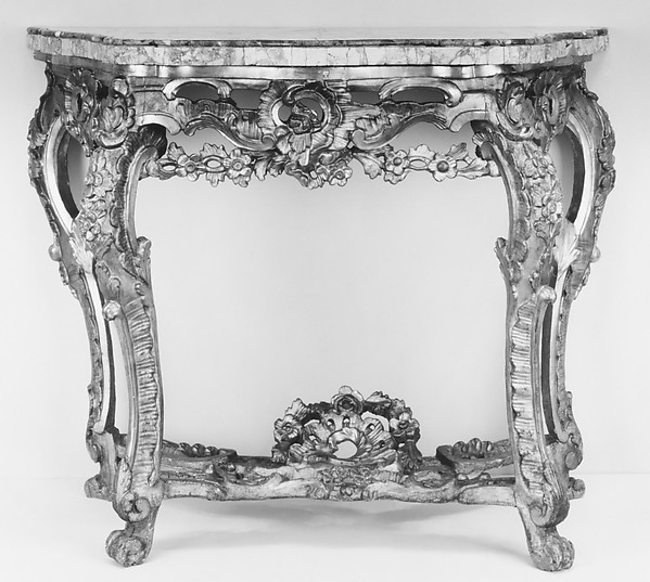 Console table, Wood, carved and gilded with sarrancolin and vert-de-mer marble top, Italian, Rome