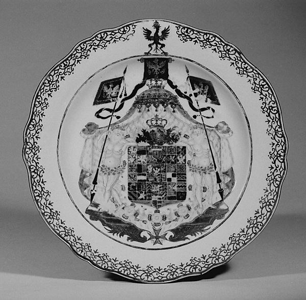 Plate (one of two), Hard-paste porcelain, Chinese, for German market