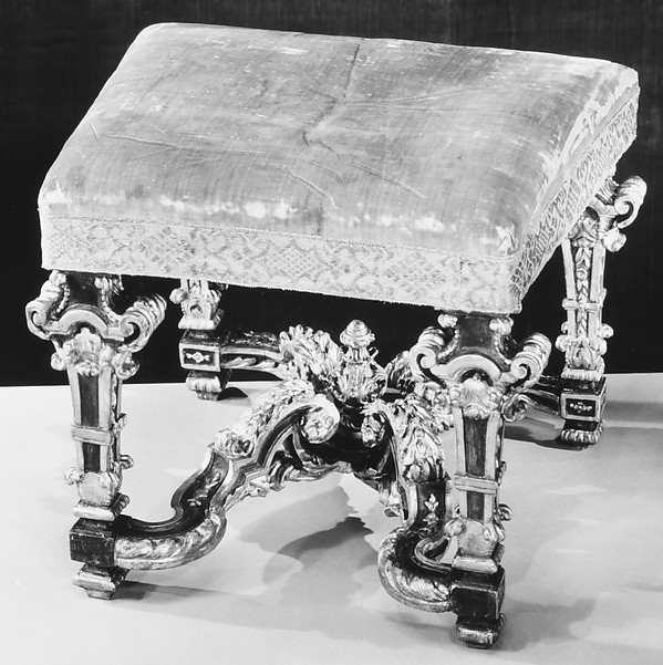 Stool for harpsicord (part of a set), Painted and gilded elm and birch; green silk velvet (not original to frame), Italian, possibly Rome