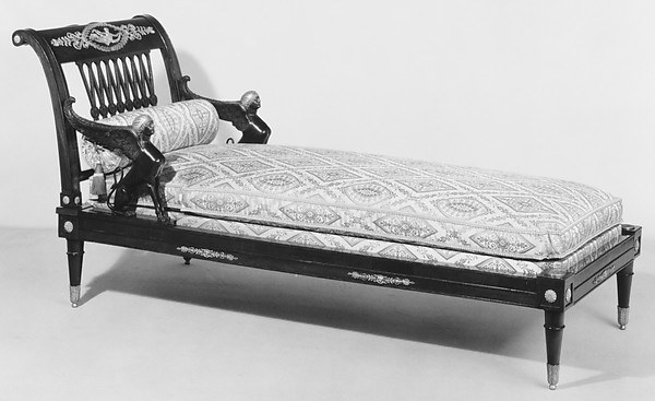 Daybed (lit de repos), François-Honoré-Georges Jacob-Desmalter (French, 1770–1841), Mahogany and mahogany veneered on beechwood; gilt bronze, bronze, lampas, French, Paris