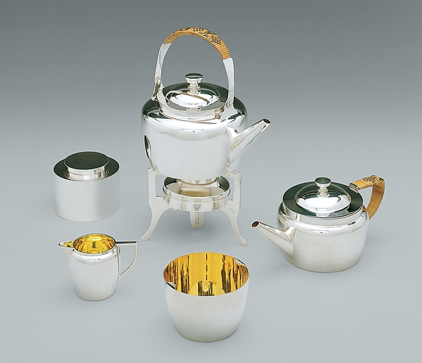 Traveling tea set, Christopher Dresser (British, Glasgow, Scotland 1834–1904 Mulhouse), Gilt and silver-plated brass; split bamboo; leather covered wood with velvet on the underside and glazed cotton linings, British, Birmingham