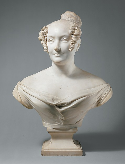 Bust of a young woman, Jean-Pierre Dantan the Younger (French, Paris 1800–1869 Baden-Baden), Marble, French