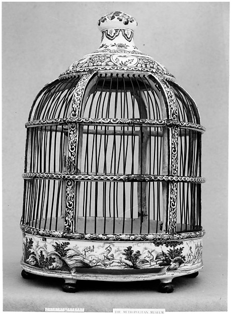 Birdcage, Tin-glazed earthenware, Dutch, Delft