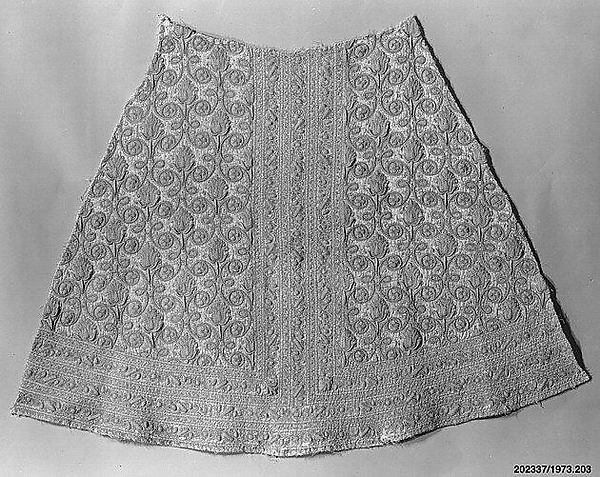 Skirt front, Silk, Spanish