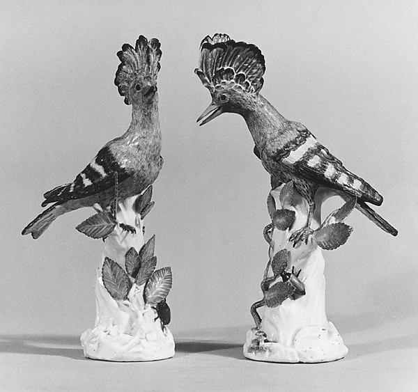 Hoopoe (Wiedenhoppe) (one of a pair), Meissen Manufactory (German, 1710–present), Hard-paste porcelain, German, Meissen