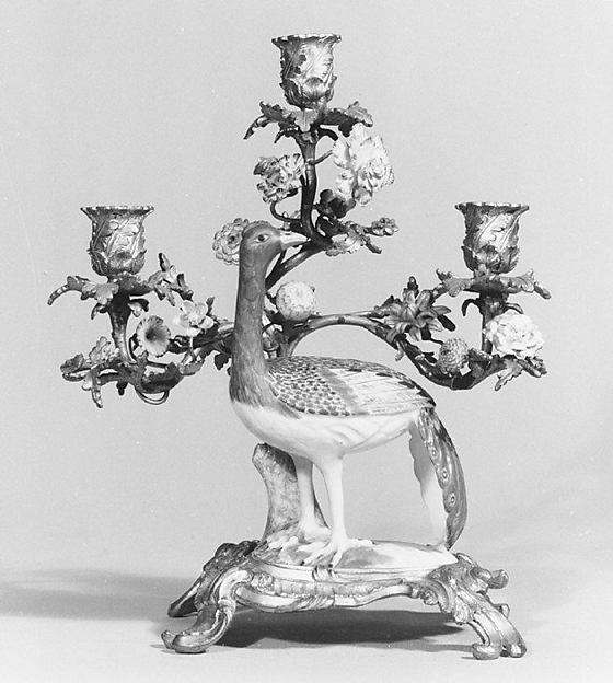 Candelabrum, Meissen Manufactory (German, 1710–present), Hard-paste porcelain, gilt bronze, German, Meissen with French mounts