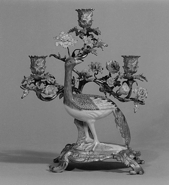 Candelabrum, Meissen Manufactory (German, 1710–present), Hard-paste porcelain, gilt bronze, German, Meissen with French mounts