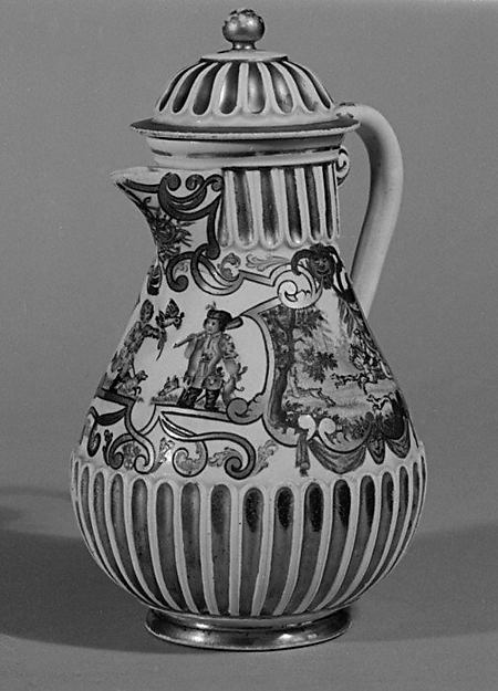 Coffeepot, Vienna, Hard-paste porcelain, Austrian, Vienna with German, Breslau decoration