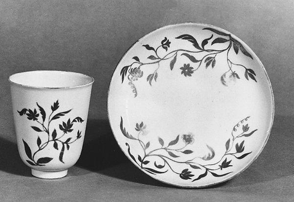 Beaker and saucer, Vezzi Factory (Italian, 1720–1727), Hard-paste porcelain, Italian, Venice
