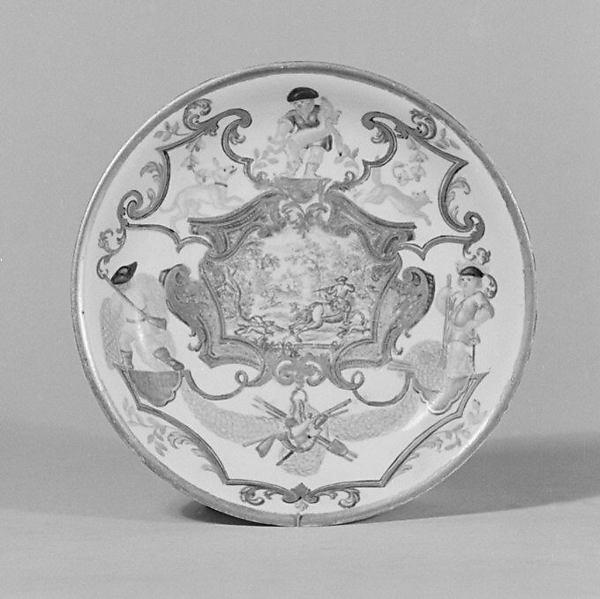 Saucer, Vienna, Hard-paste porcelain, Austrian, Vienna with German, Breslau decoration