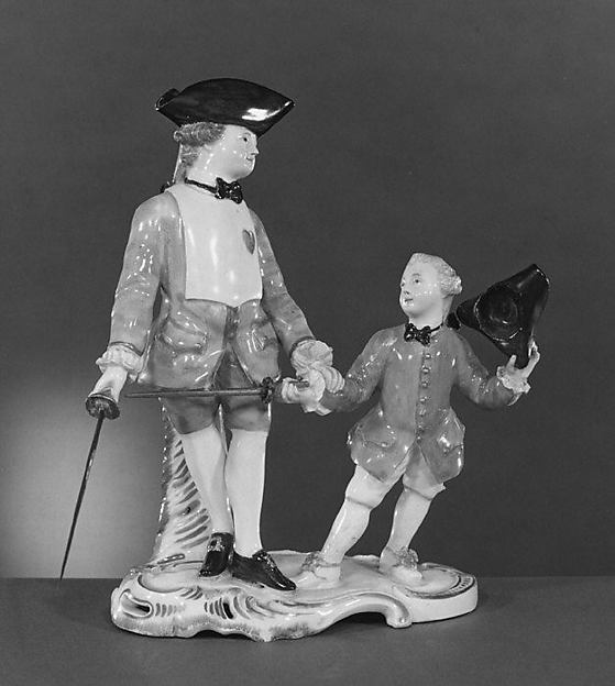 The Fencing Lesson, Höchst Manufactory (German, 1746–1796), Hard-paste porcelain, German, Höchst