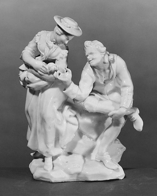 Couple with dog, Capodimonte Porcelain Factory (Italian, 1740/43–1759), Soft-paste porcelain, Italian, Naples