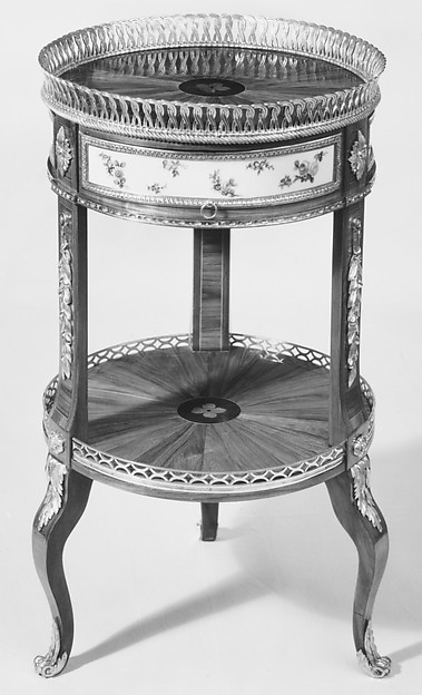 Circular worktable, Martin Carlin (French, near Freiburg im Breisgau ca. 1730–1785 Paris), Oak veneered with tulipwood, ebony, and holly; soft-paste porcelain; gilt bronze, French, Paris and Sèvres