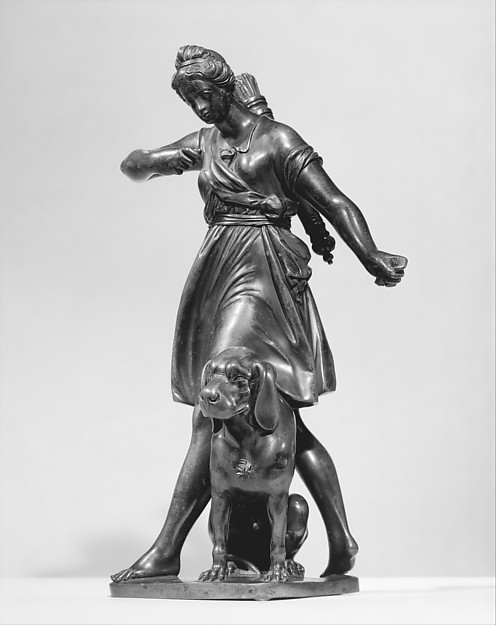 Diana with a Hound, Barthélemy Prieur (French, Berzieux ca. 1536–1611 Paris), Bronze, French, probably Paris
