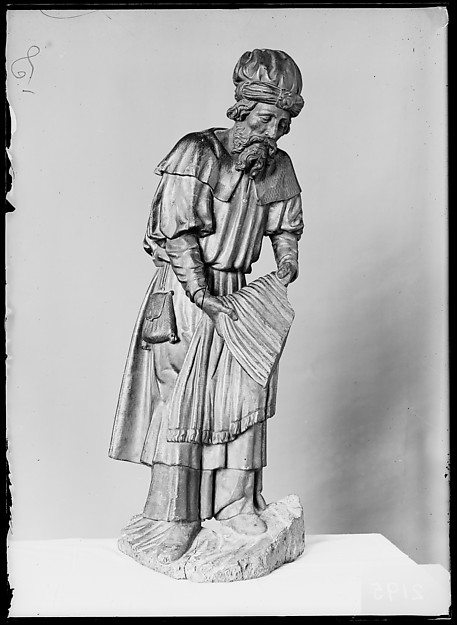 A Bearer at the Sepulchre (Joseph of Arimathea or Nicodemus), Style of Juan de Valmaseda (1488/93–after 1548), Walnut, polychromed and gilded, Spanish, Palencia