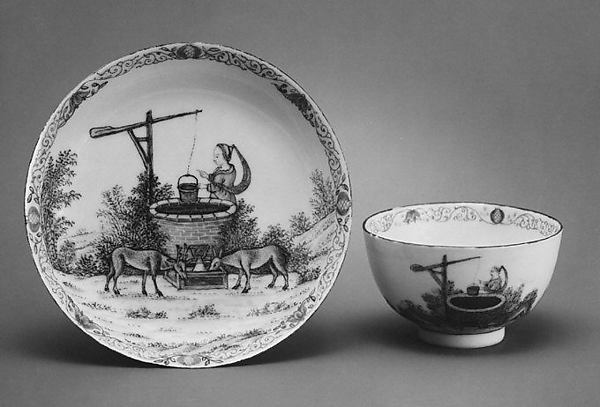 Teabowl and saucer, Hard-paste porcelain, Chinese with Dutch decoration, for Dutch market