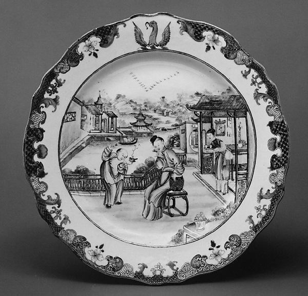 Plate, Hard-paste porcelain, Chinese, for British market