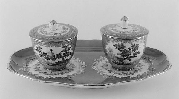 Stand with jam pots (plateau à deux pots de confiture) (one of a pair) (part of a service), Sèvres Manufactory (French, 1740–present), Soft-paste porcelain, French, Sèvres