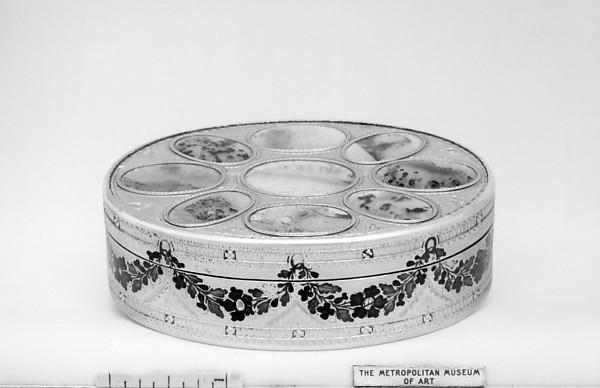 Box, Silver, silver gilt, enamel, moss agates, German